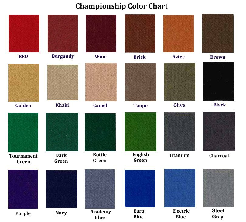 Felt Color Options Gameroom Envy 209 888 5115